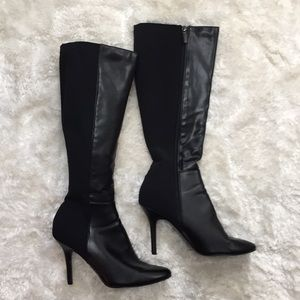 WHBM Black Leather Stretchy Dress Jewel Boots